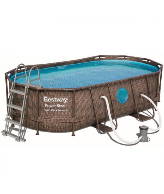 Каркасный бассейн Bestway Ротанг 56716 (549х274х122 см) с картриджным фильтром, лестницей и тентом
