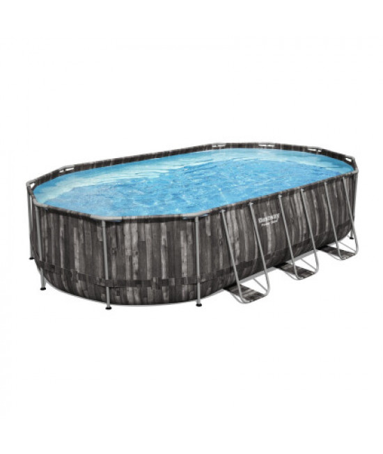 Каркасный бассейн Bestway Wood style 5611R (610х366х122 см) с картриджным фильтром, лестницей и тентом