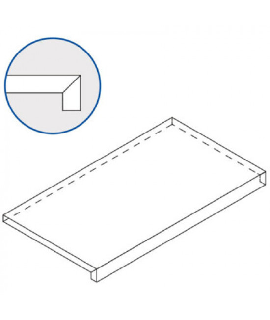 Бортовая Г-образная плитка Italon Рум Блэк, 330х600 мм (фронтальная)