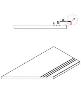 Бортовая прямая плитка Italon Клаймб Рок противоскользящая 300х600 мм, с рукохватом (левая)