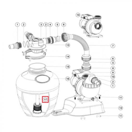 Дюзовая коробка 89033603 в комп-ке с трубой для Aquaviva FSU