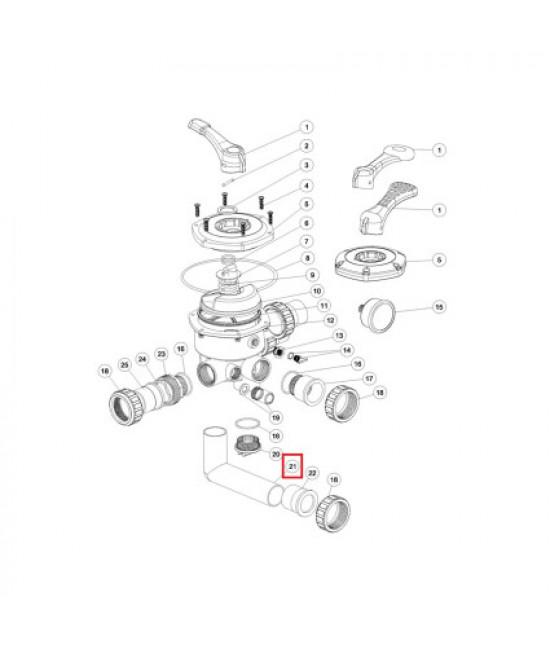 Колено 6-ти позиционного клапана Aquaviva S / SP / MFS 1.5 (125мм)