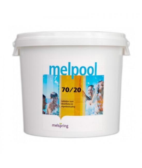 Дезинфектант для бассейна на основе гипохлорита кальция Melpool N.X 70/20 в таблетках (5 кг)