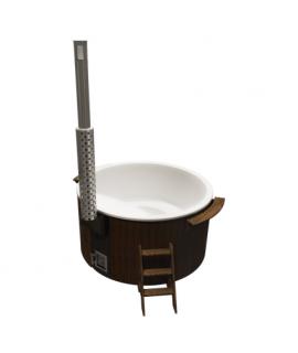 Купель круглая PolarSpa Элит KFE220S Термоясень, интегрированная дровяная печь