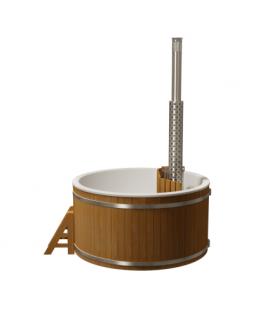 Купель круглая PolarSpa Премиум KFP220ТР Термососна, внутренняя дровяная печь